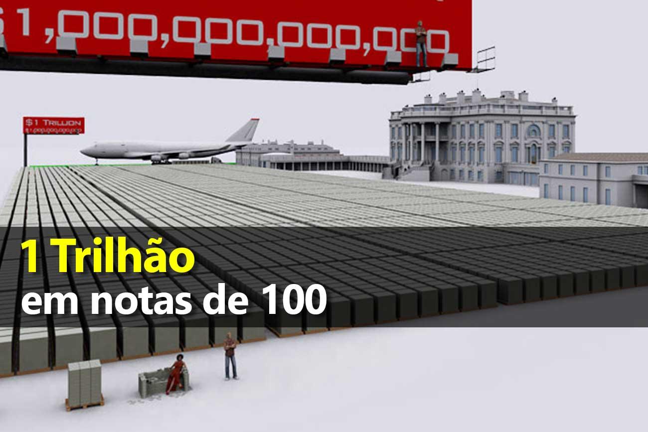 1 trilhão em notas de 100